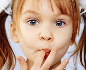 Child licking finger