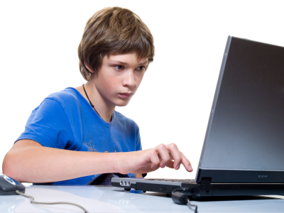 Boy working with laptop