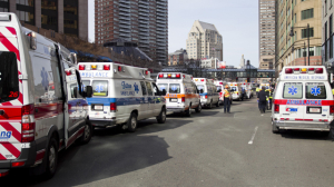 Ambulances line the street after explosions reportedly interrupted the running of the 117th Boston Marathon in Boston