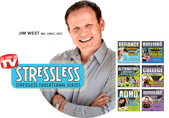 Jim West surrounded by StressLess Educational Series logo , product images and As Seen on TV logo